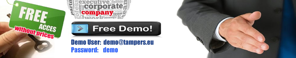 Demo User:demo@tampers.eu  Password:demo